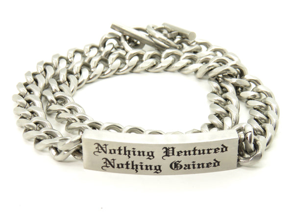 Mens Stainless Steel Bracelet - Double Wrap Chain ID - FREE engraving!