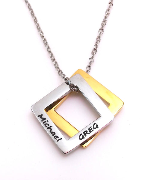 Double Square pendant - Silver & Gold - FREE Engraving