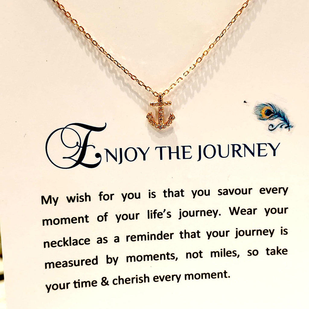 Sterling Silver Necklace - Enjoy The Journey - Rose Gold