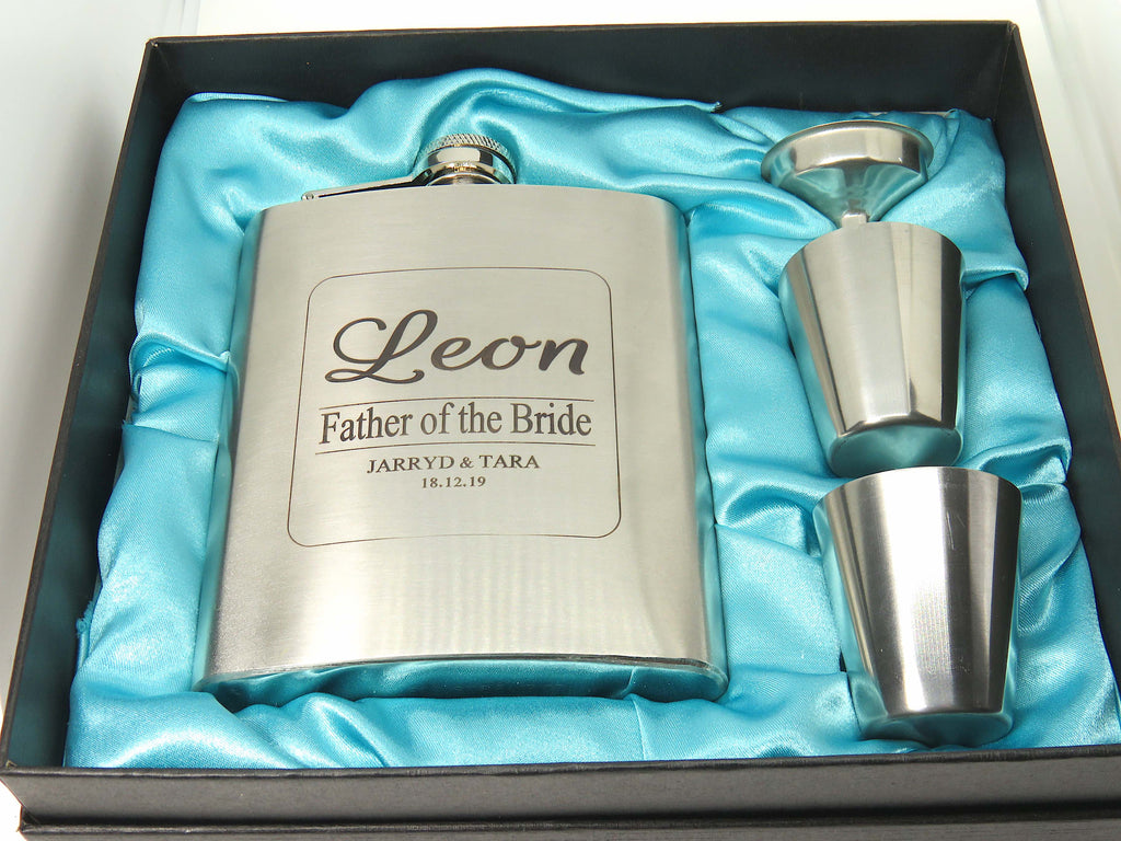 Hip flask - Father of the Bride/Father of the Groom - FREE Engraving