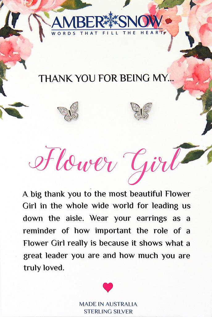 Thank you for being my Flower Girl -  Butterfly Earrings