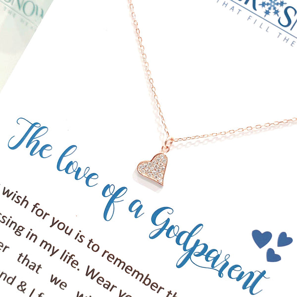 Sterling Silver Necklace - The Love of a Godparent - Rose Gold