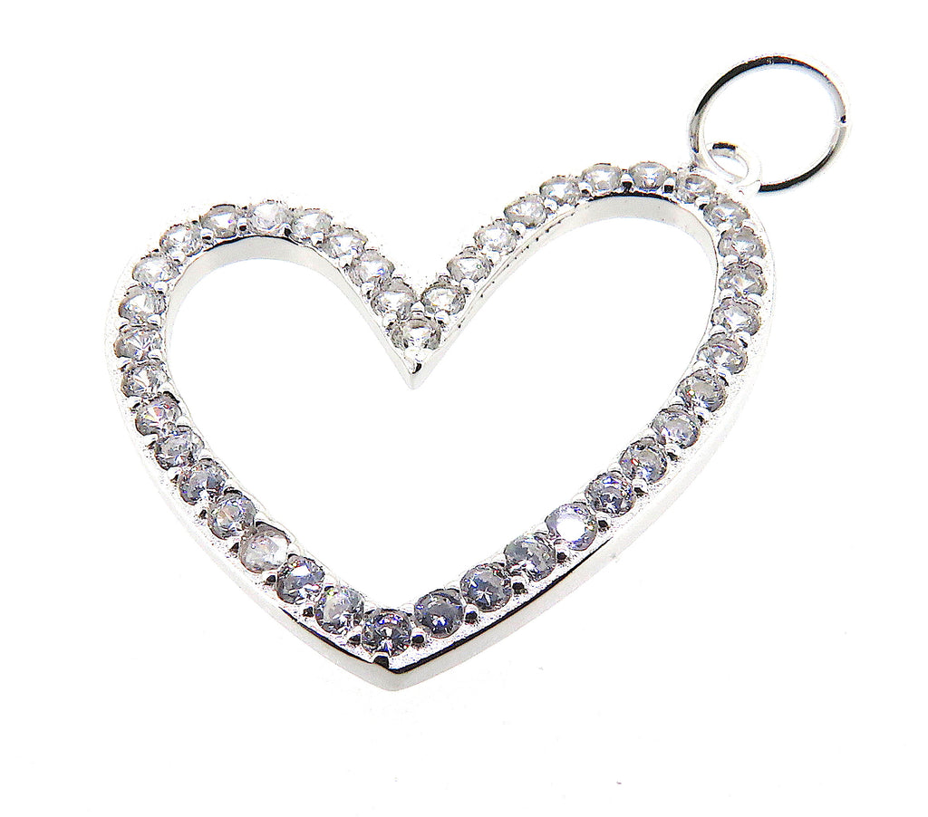 Large Heart Charm in Sterling Silver