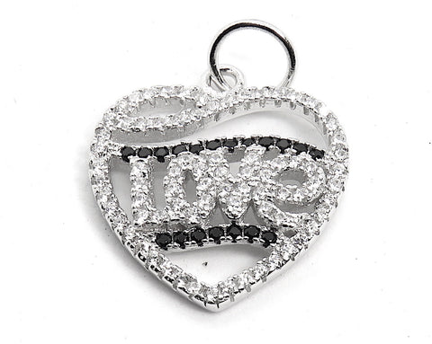 Heart with Love Charm in Sterling Silver