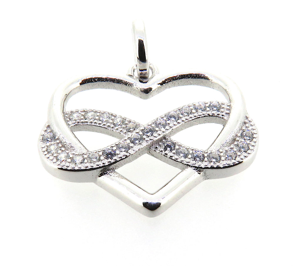 Infinity Heart Charm in Sterling Silver