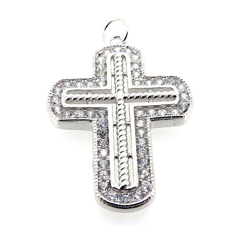 Large Cross Charm in Sterling Silver