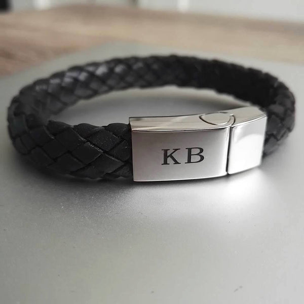 Mens Stainless Steel Initials Bracelet - Black platted leather - FREE engraving!