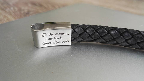 Black platted leather and stainless steel mens bracelet - FREE engraving!