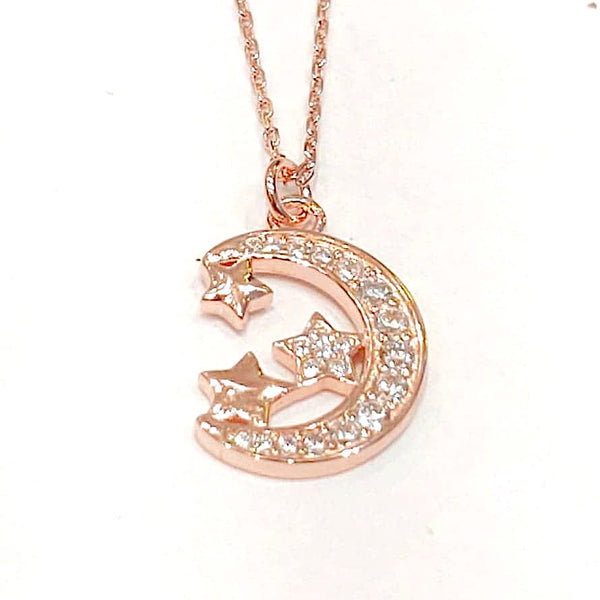 Sterling Silver Necklace - Across the Miles - Rose Gold