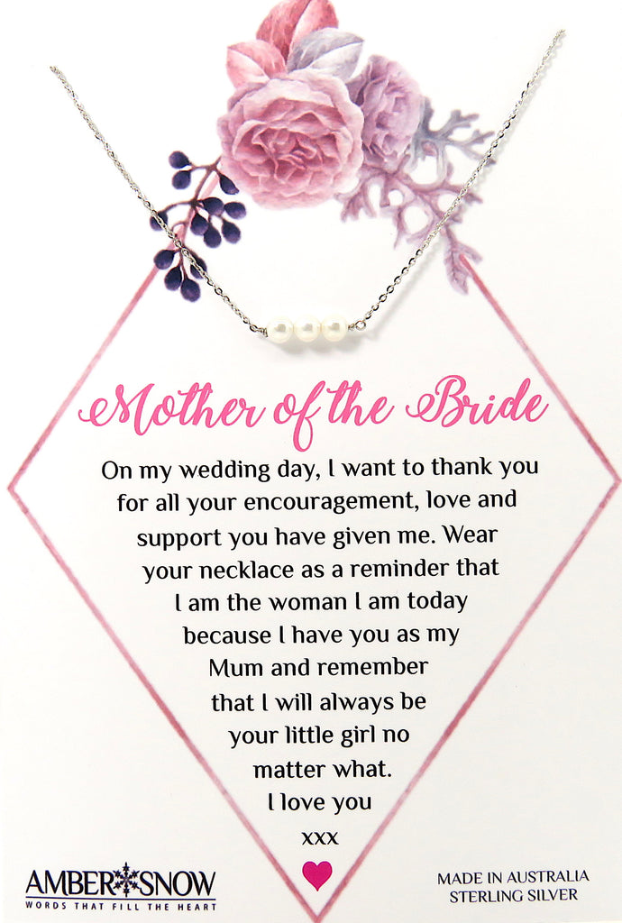 Mother of the Bride - Sterling Silver necklace with 3 Pearls