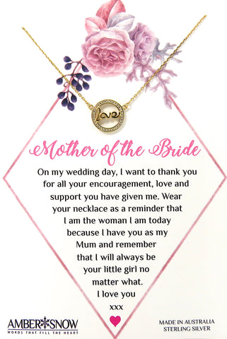 Mother of the Bride - Gold plated Sterling Silver Love necklace