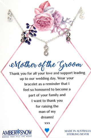 Mother of the Groom - Sterling Silver Infinity Charm bracelet