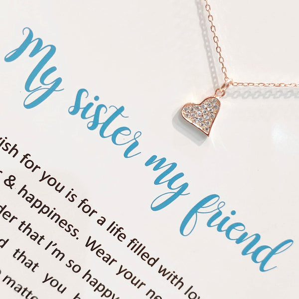 Sterling Silver Necklace - My Sister My Friend - Rose Gold