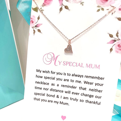 Sterling Silver Necklace - My Special Mum - Rose Gold