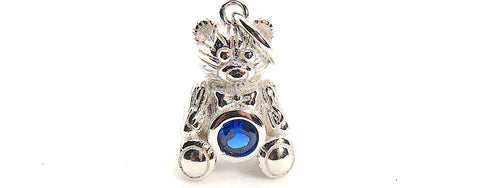 Teddy Bear Charm with blue CZ in Sterling Silver