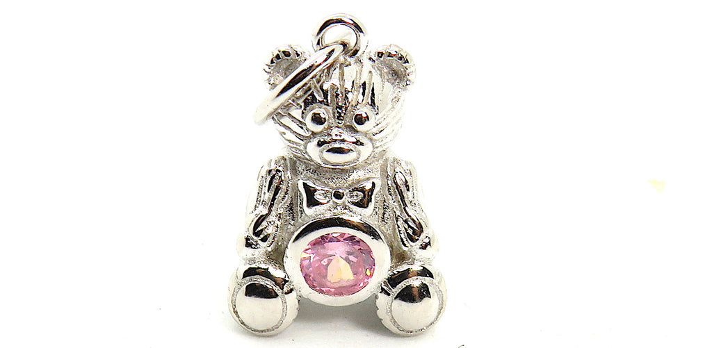Teddy Bear Charm with pink CZ in Sterling Silver