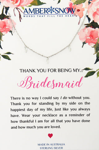 Thank you for being my Bridesmaid - Swarovski Crystal & Sterling Silver necklace