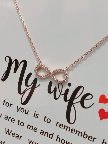 Sterling Silver Necklace - My Wife - Rose Gold