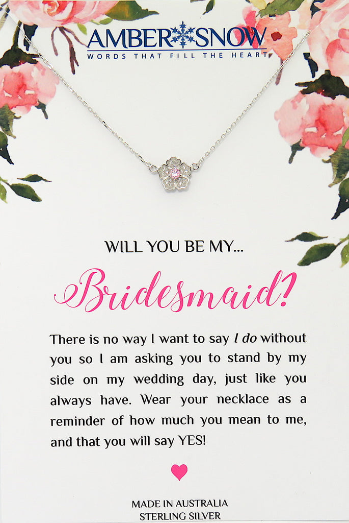 Will you be my Bridesmaid? - Flower with Pink Stone necklace