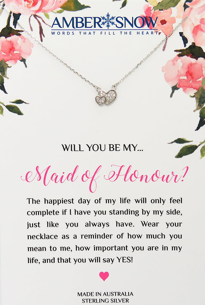 Will you be my Maid of Honour? - Double Heart necklace