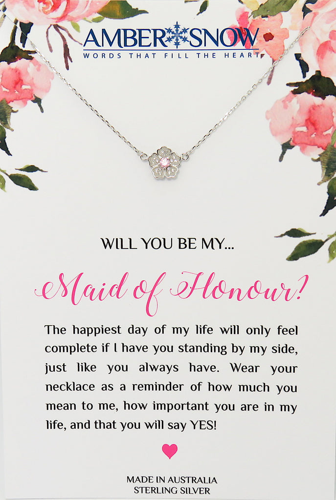 Will you be my Maid of Honour? - Flower with Pink Stone necklace