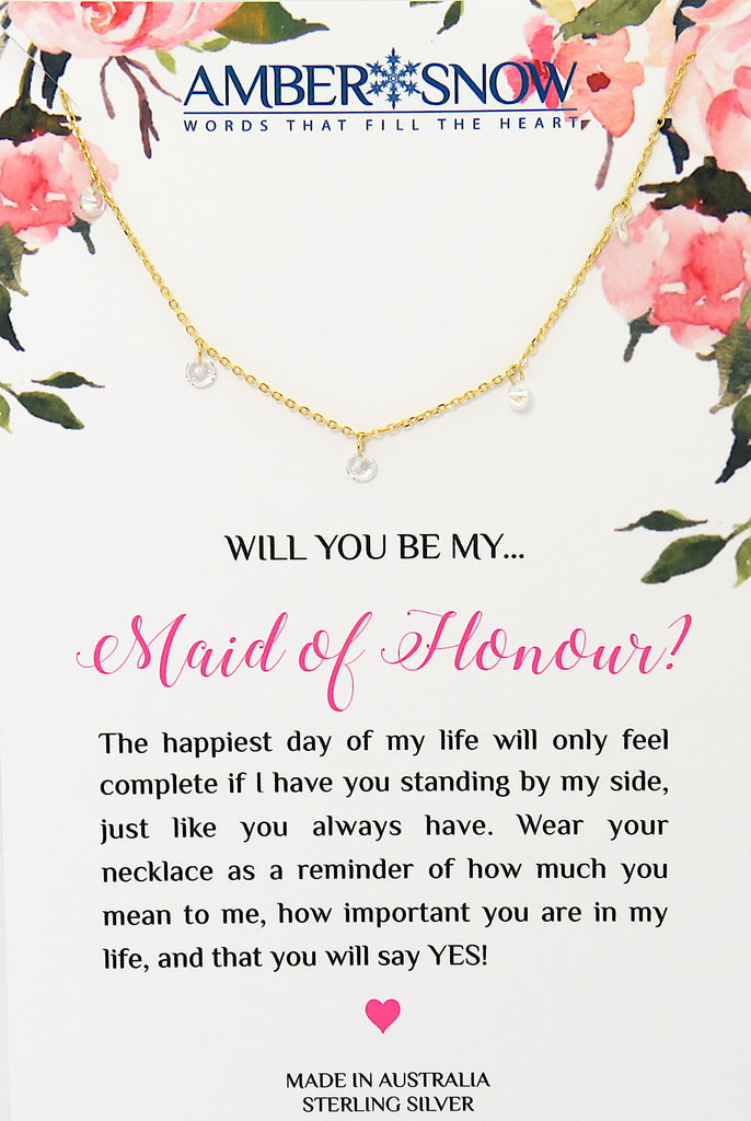 Will you be my Maid of Honour? - Gold Swarovski Crystal necklace