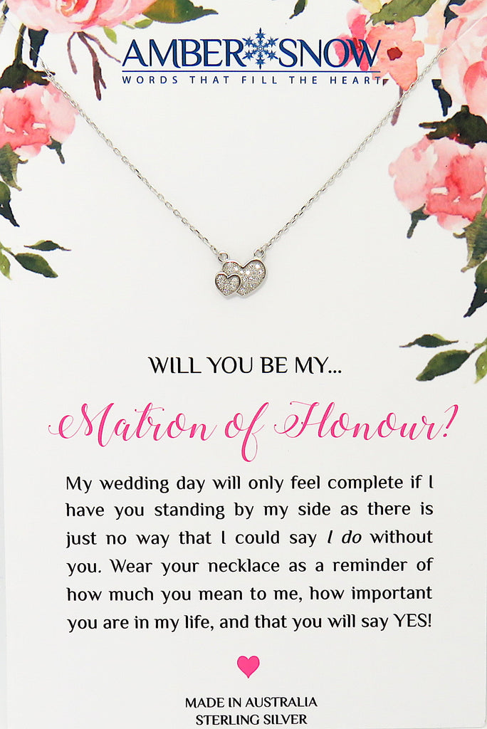 Will you be my Matron of Honour? - Double Heart necklace