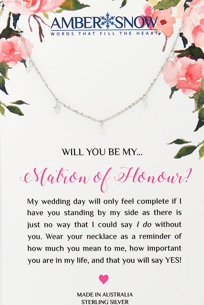 Will you be my Matron of Honour? - Swarovski Crystal & Sterling Silver necklace