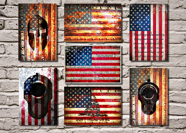 American Flag Prints on Small Metal Plates