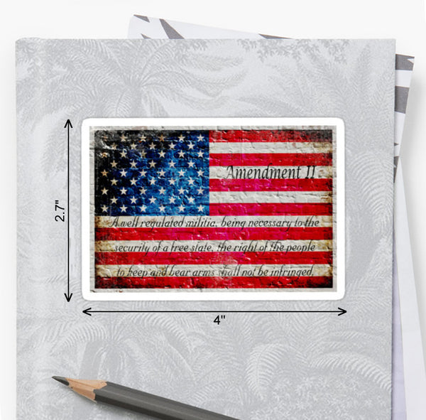 Picture of American Flag &2nd Amendment Sticker by FreedomGiftsUSA