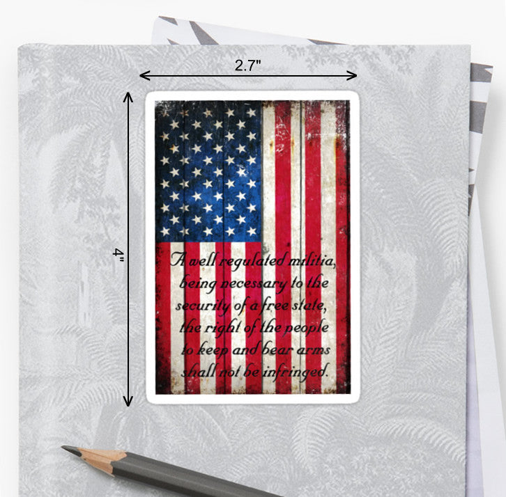 Picture of American Flag & Second Amendment Sticker by FreedomGiftsUSA