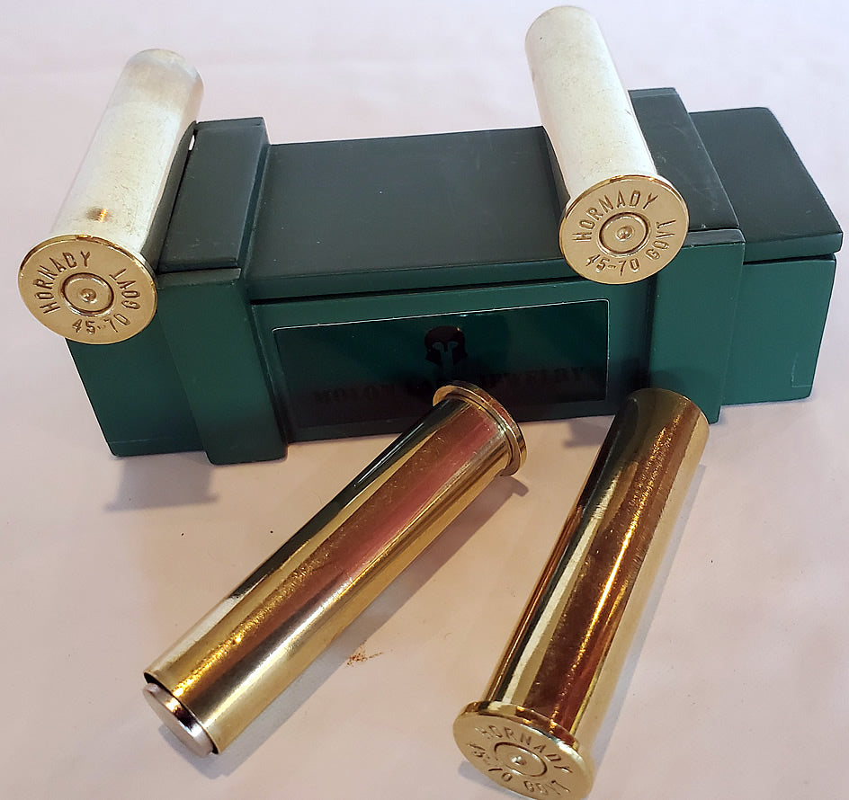 45-70 Government Brass magnets - Set of 4 with ammo box