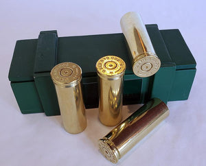 500 S&W Magnum Brass Magnets - Set of 4 with ammo box