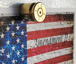 50 caliber brass magnet and 2nd Amendment print close up