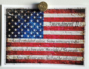 50 caliber brass magnet and 2nd Amendment print