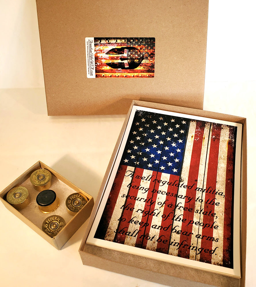 Pro 2nd Amendment Art Print Gift Set – 5 Prints and 5 Spent 12 Gauge Shell Magnets.