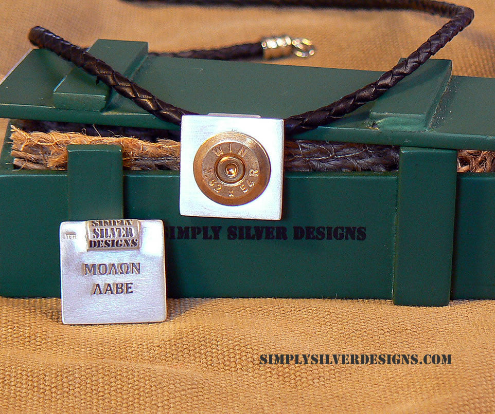 "Sterling Silver Gun Jewelry7.62X54 Case Head  ""Molon Labe"" Pendant and Bolo Cord Necklace"