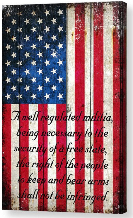 American Flag & 2nd Amendment Vertical Print on Canvas