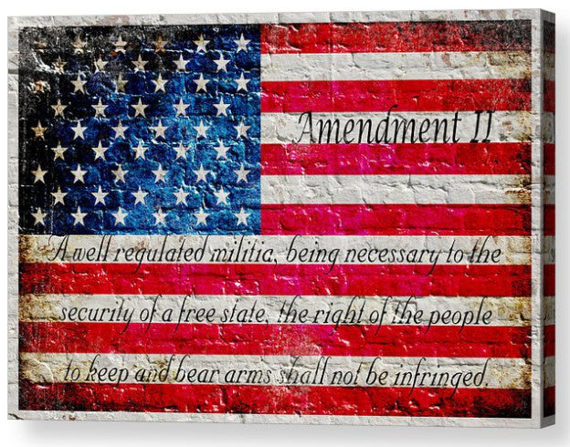 American Flag & 2nd Amendment Horizontal Print on Canvas