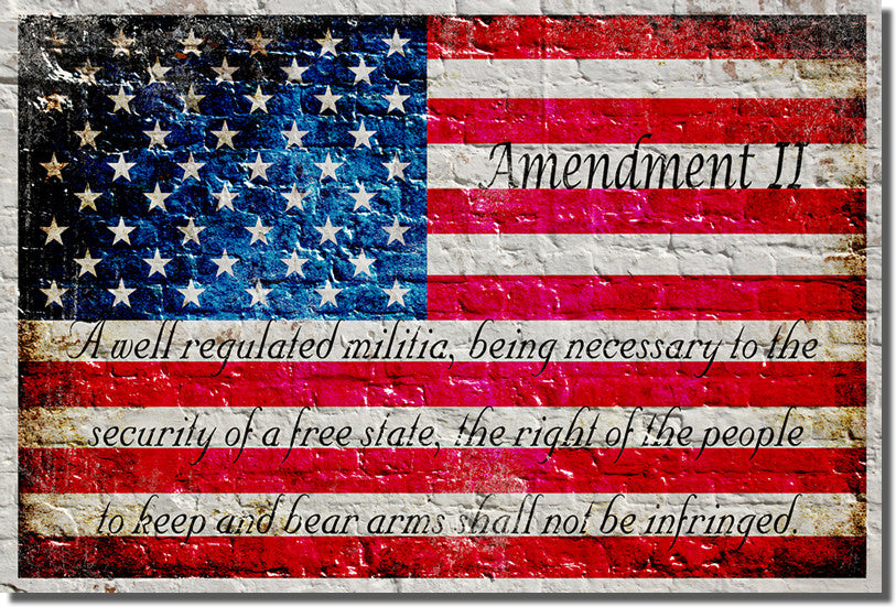 American Flag & 2nd Amendment Horizontal -  Small Metal Plate