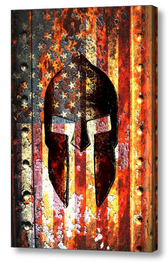 American Flag & Spartan Helmet on Rusted Metal Vertical Print on Canvas - Molon Labe Print