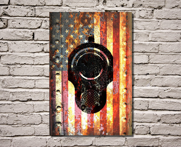American Flag & Colt M1911 Muzzle on Rusted Metal Vertical Print on Canvas Hung on Brick Wall