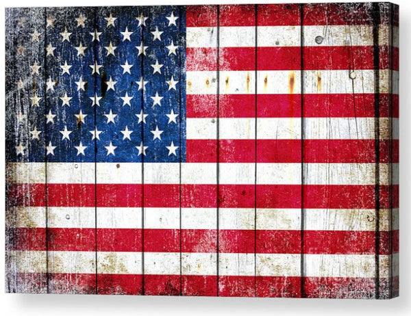 American Flag on Old Barn Wood Horizontal Print on Canvas