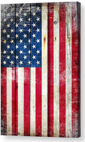 American Flag on Old Barn Wood Vertical Print on Canvas