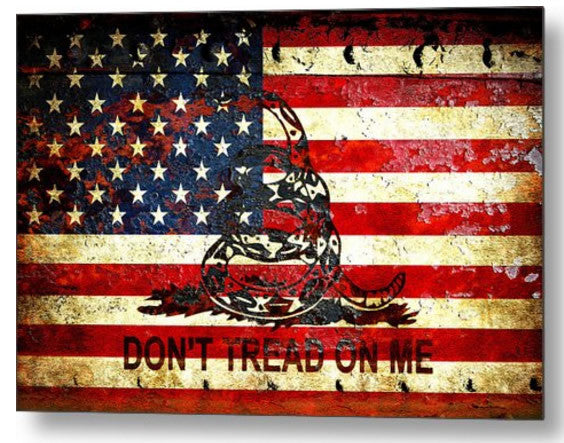 Print American Flag And Viper On Rusted Metal Door - Don't Tread On Me  - Small Metal Plate