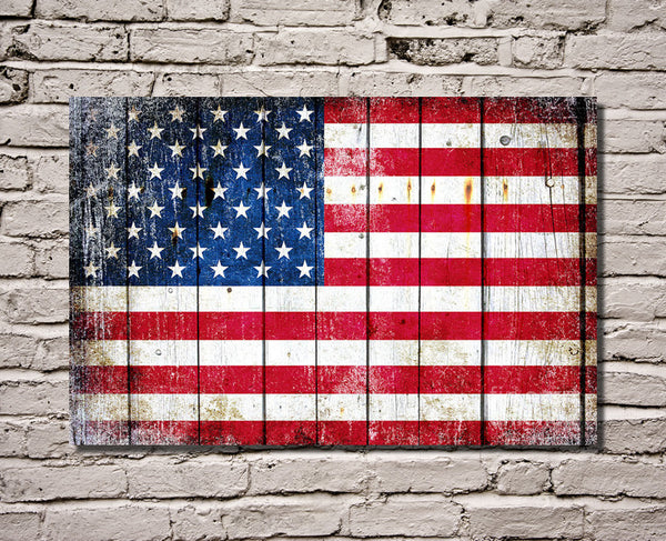 American Flag on Old Barn Wood Horizontal Print on Canvas Hung on Brick Wall