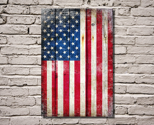 American Flag on Old Barn Wood Vertical Print on Canvas Hung on Wall