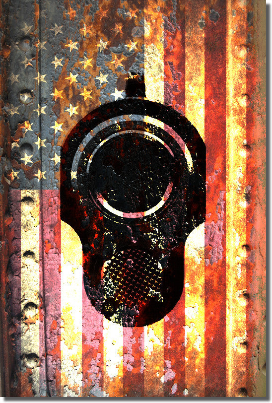 American Flag and M1911 Pistol Muzzle on Rusted Door - Small Metal Plate