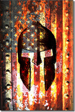Load image into Gallery viewer, Molon Labe - American Flag & Spartan Helmet on Rusted Door - Large Magnet