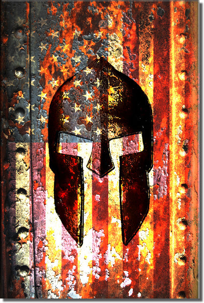 American Flag & Spartan Helmet on Rusted Door - Small Metal Plate